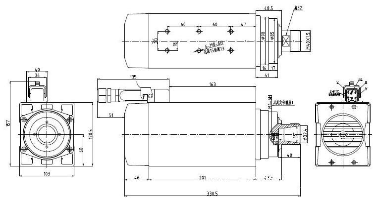 Шпиндель 4.5кВт (380В, ER-32)
