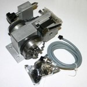 Поворотная ось с шаговым двигателем и трехкулачковым самоцентрирующим патроном