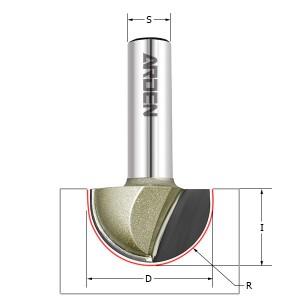 Фреза пазовая полукруг (чаша) Z=2 S=8 R=4,75 D=9,5x6,4 ARDEN 203806